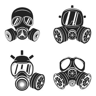 Conjunto de máscaras de gás isolado no fundo branco.