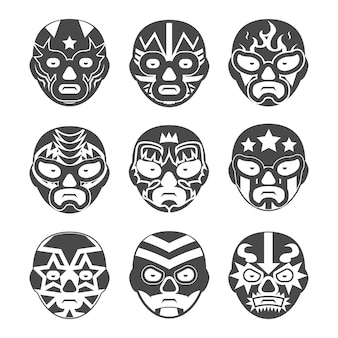 Conjunto de máscaras de luta livre mexicana.