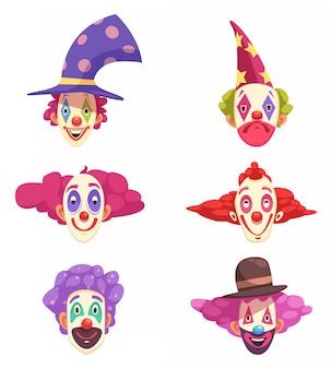 Conjunto de máscaras de palhaços