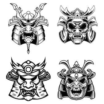 Conjunto de máscaras e capacetes de samurai