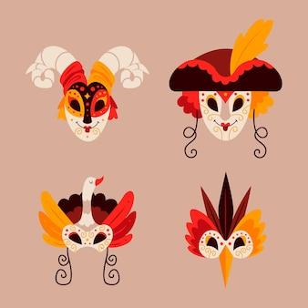 Conjunto de máscaras elegantes 2d mascarada