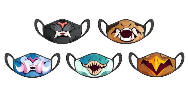 Conjunto de máscaras faciais com presas de animais assustadores