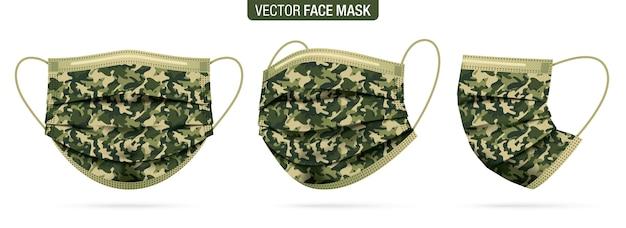Conjunto de máscaras faciais de diferentes ângulos de visão, com padrão de camuflagem militar.