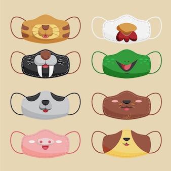 Conjunto de máscaras faciais de tecido animal fofo