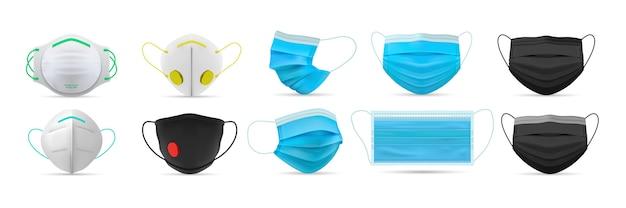 Conjunto de máscaras faciais médicas respiratórias realistas.