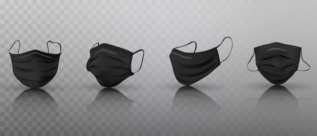 Conjunto de máscaras médicas pretas 3d realistas.
