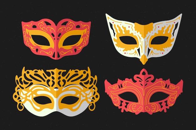 Conjunto de máscaras misteriosas de máscara 2d
