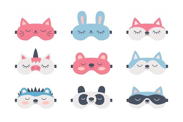 Conjunto de máscaras para dormir com olhos de animais fofos. acessório noturno para um sono saudável, viagens e recreação