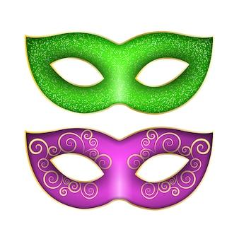 Conjunto de máscaras para o carnaval de mardi gras.
