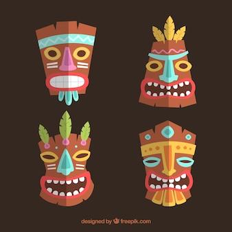 Conjunto de máscaras tiki de madeira em design plano