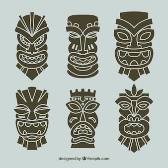 Conjunto de máscaras tribais decorativas