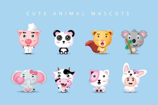 Conjunto de mascote animal bonito
