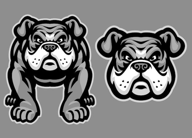 Conjunto de mascote bulldog