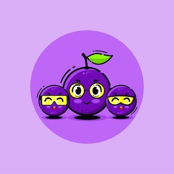 Conjunto de mascote da ilustração em vetor desenho bonito de uva