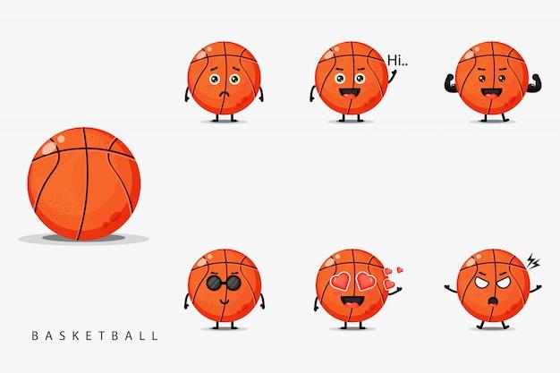 Conjunto de mascote de basquete bonito