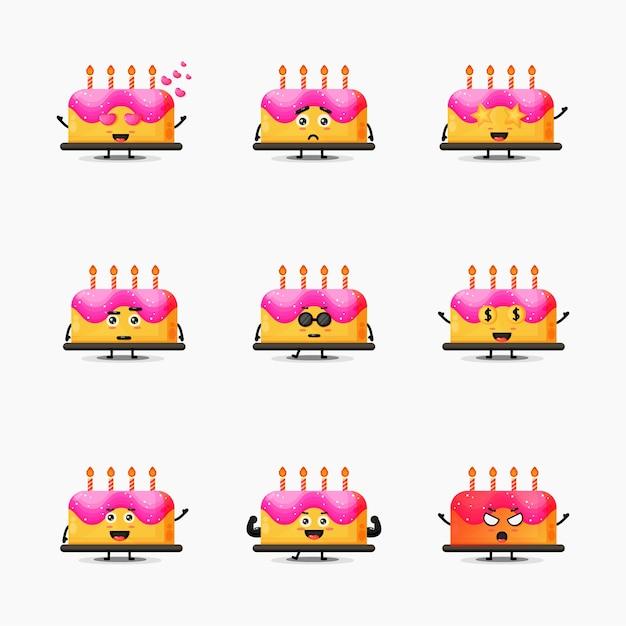 Conjunto de mascote de bolo de aniversário fofo