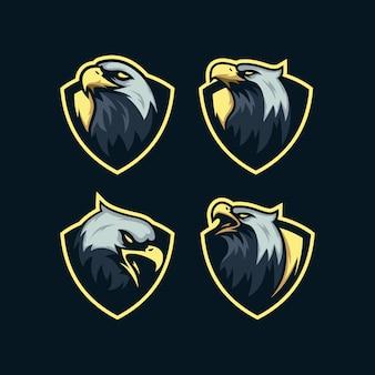 Conjunto de mascote de cabeça de águia