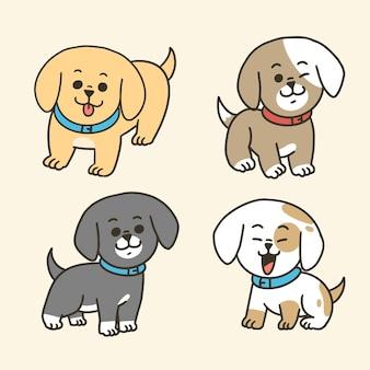 Conjunto de mascote de cachorro adorável adorável mascote segundo conjunto