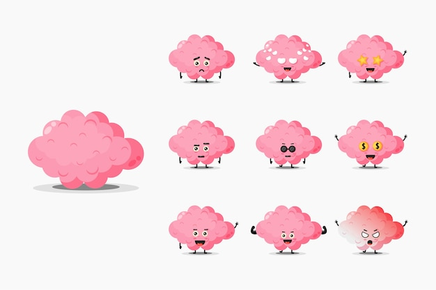 Conjunto de mascote de cérebro fofo