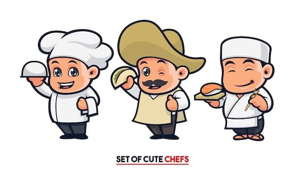 Conjunto de mascote de chef fofo