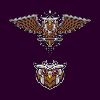 Conjunto de mascote de coruja de máquina