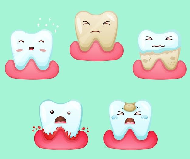 Conjunto de mascote de dente fofo em muitas atividades