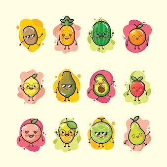 Conjunto de mascote de desenhos animados de frutas