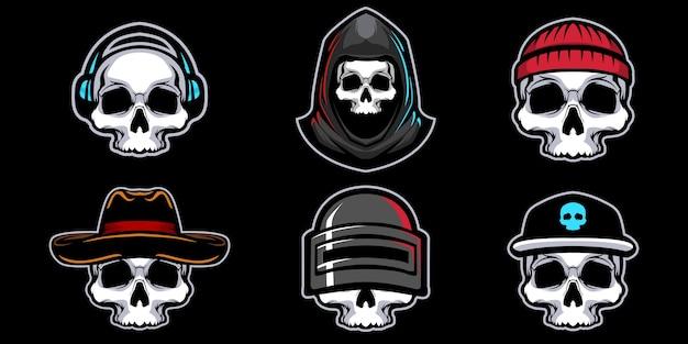 Conjunto de mascote de ilustração de cabeça de crânio