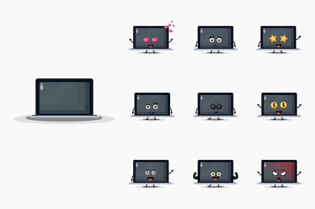 Conjunto de mascote de laptop fofo