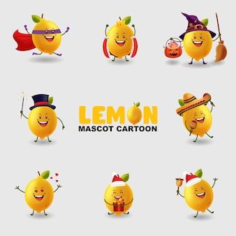 Conjunto de mascote de limão em várias poses