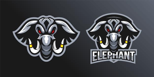 Conjunto de mascote de logotipo de cabeça de elefante