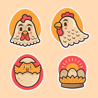 Conjunto de mascote de logotipo de frango fofo