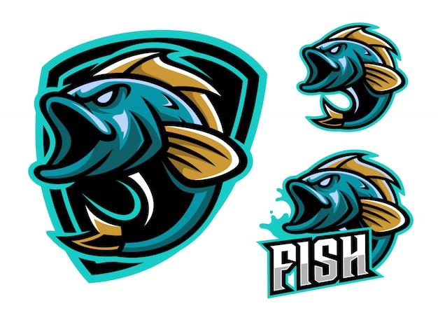 Conjunto de mascote de logotipo de peixe esport