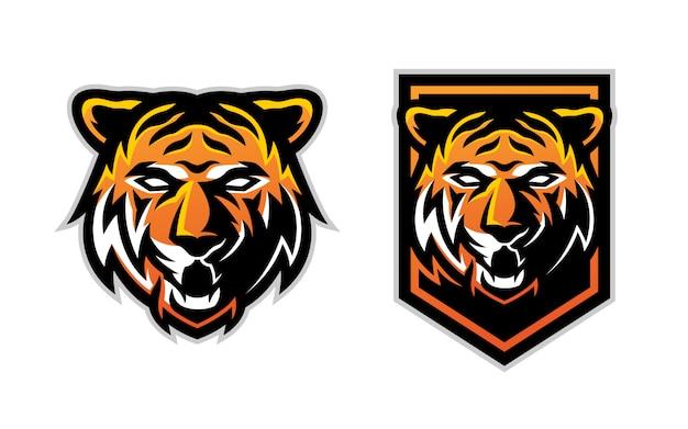 Conjunto de mascote de logotipo esport cabeça de tigre