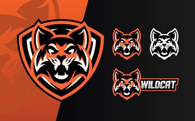 Conjunto de mascote de logotipo wildcat esport