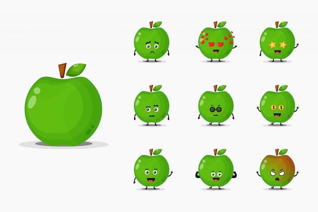 Conjunto de mascote de maçã verde bonito