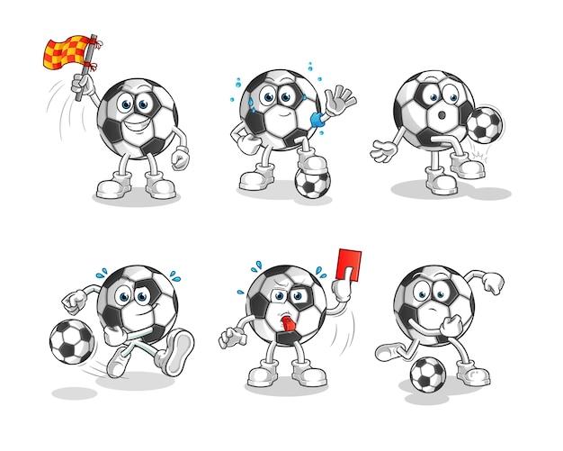 Conjunto de mascote de personagem de desenho animado de futebol