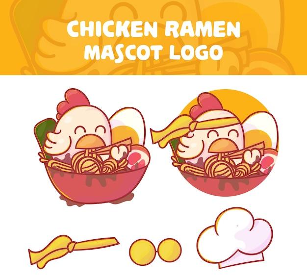Conjunto de mascote de ramen de frango bonito com aparência opcional.