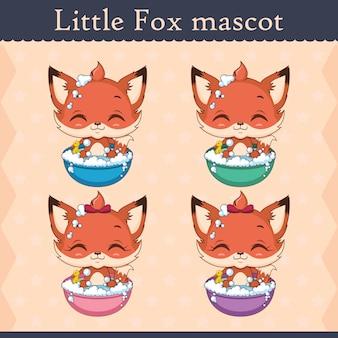 Conjunto de mascote de raposa bebê fofo - pose de banho