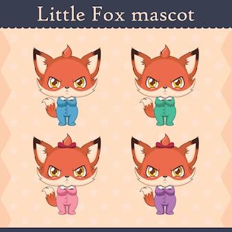 Conjunto de mascote de raposa bebê fofo - pose de beicinho