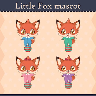 Conjunto de mascote de raposa bebê fofo - pose de equilíbrio