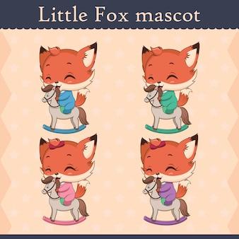 Conjunto de mascote de raposa bebê fofo - pose feliz