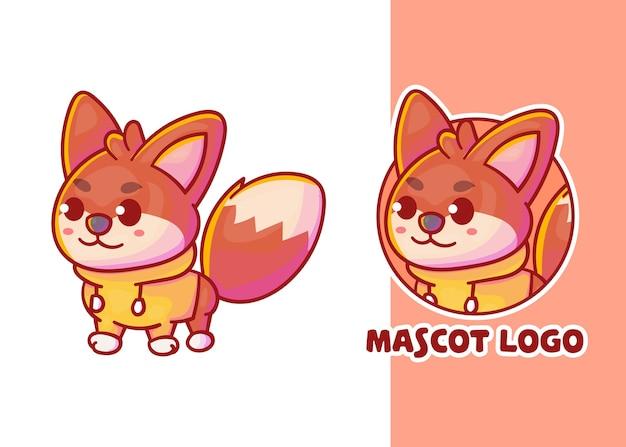 Conjunto de mascote de raposa fofa com aparência opcional.