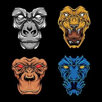 Conjunto de mascote de rosto de fera
