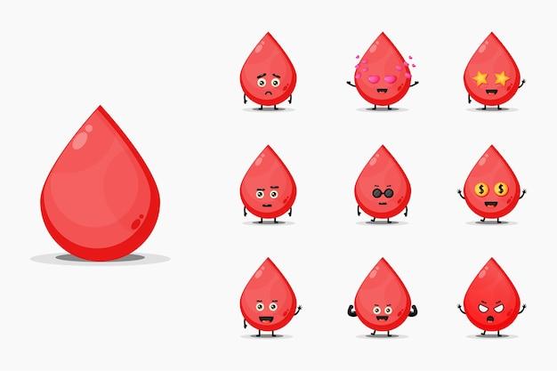 Conjunto de mascote de sangue fofo