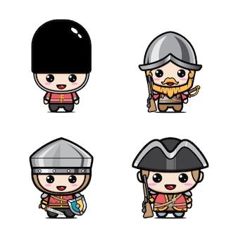 Conjunto de mascote de soldados britânicos fofos