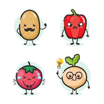 Conjunto de mascote de vegetais dos desenhos animados em emoção de ação diferente