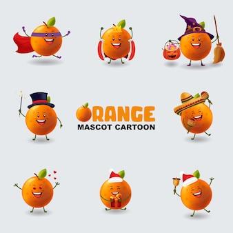 Conjunto de mascote laranja em várias poses