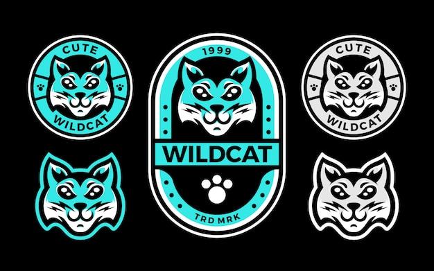Conjunto de mascote logotipo bonito gato selvagem