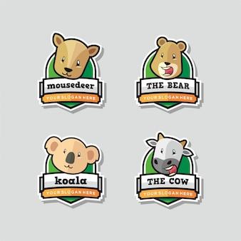 Conjunto de mascote logotipo engraçado animal